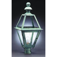 Boston 1 Light 26 inch Verdi Gris Post Lantern in Clear Glass, Chimney, Medium